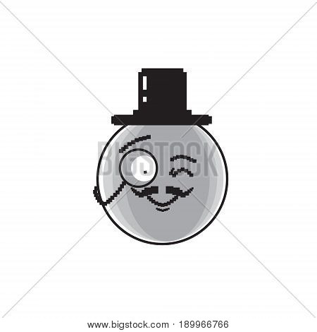Smiling Cartoon Face Wear Aristocrat Hat Positive People Emotion Icon Vector Illustration