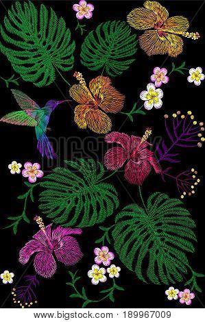 Tropical embroidery flower arrangement. Exotic plant blossom summer jungle. Fashion print textile patch. Hawaii hibiscus plumeria monstera hummingbird seamless vector illustration art