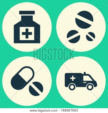 Medicine Icons Set. Collection Of Cure, First-Aid, Painkiller And Other Elements. Also Includes Symbols Such As First-Aid, Ambulance, Pills.