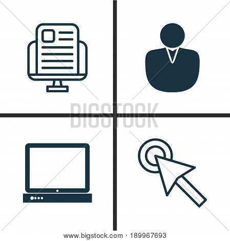 Internet Icons Set. Collection Of Blog Page, PC, Cursor Tap And Other Elements. Also Includes Symbols Such As Desktop, Click, PC.