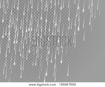 Rain downpour meteor shower shooting stars on transparent background. Gray white drop water realistic vector illustration art