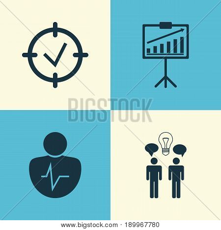 Executive Icons Set. Collection Of Co-Working, Report Demonstration, Personal Character And Other Elements. Also Includes Symbols Such As Person, Trait, Diagram.