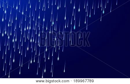 Rain downpour meteor shower shooting stars on dark night blue sky background. Gray white drop water realistic vector illustration art