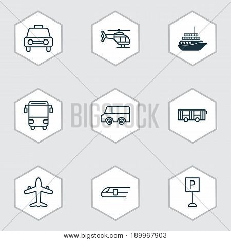 Transportation Icons Set. Collection Of Lorry, College Transport, Cruise And Other Elements. Also Includes Symbols Such As Aircraft, Train, Plane.