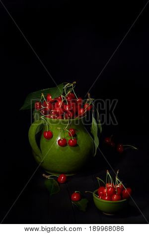 Pitcher With Cherries