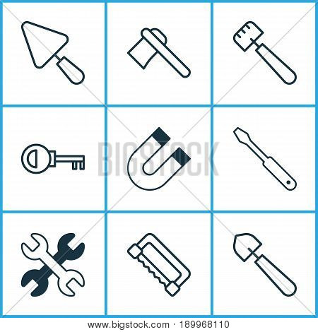 Apparatus Icons Set. Collection Of Password, Scoop, Carpentry And Other Elements. Also Includes Symbols Such As Spanner, Polarity, Scapula.