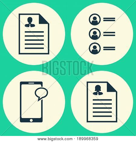 Management Icons Set. Collection Of Female Application, Job Applicants, Curriculum Vitae And Other Elements. Also Includes Symbols Such As Application, Chat, Resume.