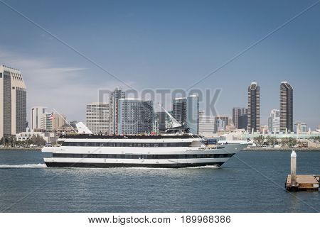 Spirit of San Diego, Flagship Cruises in San Diego Harbor with skyline in background