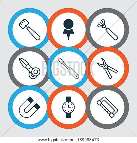 Tools Icons Set. Collection Of Location, Turn Screw, Harrow And Other Elements. Also Includes Symbols Such As Attraction, Pliers, Spatula.