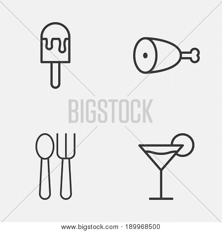 Icons Set. Collection Of Cocktail, Fried Poultry, Lolly And Other Elements. Also Includes Symbols Such As Ice, Poultry, Lolly.