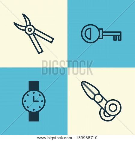 Tools Icons Set. Collection Of Clippers, Timer, Password And Other Elements. Also Includes Symbols Such As Pruning, Key, Watch.