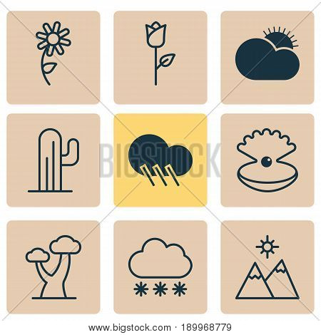 Harmony Icons Set. Collection Of Love Flower, Sunny Weather, Cactus And Other Elements. Also Includes Symbols Such As Rain, Jewel, Tree.