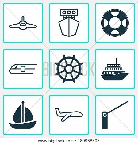 Transportation Icons Set. Collection Of Plane, Cruise, Metro And Other Elements. Also Includes Symbols Such As Aircraft, Boat, Travelling.