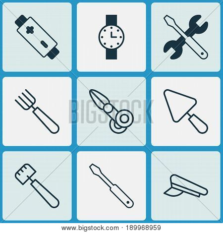 Instrument Icons Set. Collection Of Clippers, Spatula, Timer And Other Elements. Also Includes Symbols Such As Timer, Hat, Alkaline.
