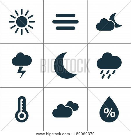 Weather Icons Set. Collection Of Douche, Moisture, Temperature And Other Elements. Also Includes Symbols Such As Shower, Clouds, Humidity.