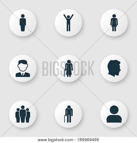 Human Icons Set. Collection Of Male, Grandpa, Work Man Elements. Also Includes Symbols Such As Gentlewoman, Woman, Avatar.