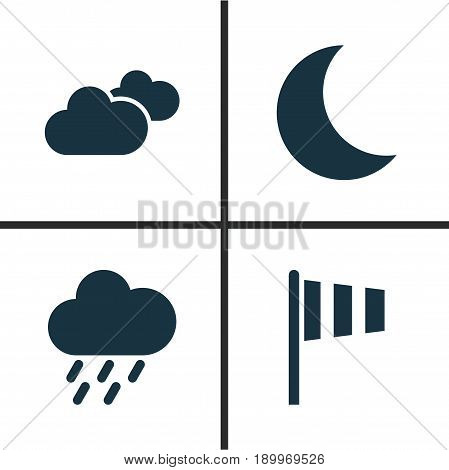 Air Icons Set. Collection Of Flag, Moon, Douche And Other Elements. Also Includes Symbols Such As Night, Overcast, Weather.