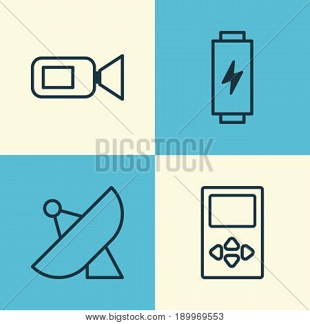 Hardware Icons Set. Collection Of Antenna, Video Camcorder, Charge And Other Elements. Also Includes Symbols Such As Charge, Music, Sputnik.