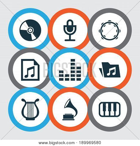 Audio Icons Set. Collection Of Equalizer, Octave, Lyre And Other Elements. Also Includes Symbols Such As Piano, Percussion, Keyboard.