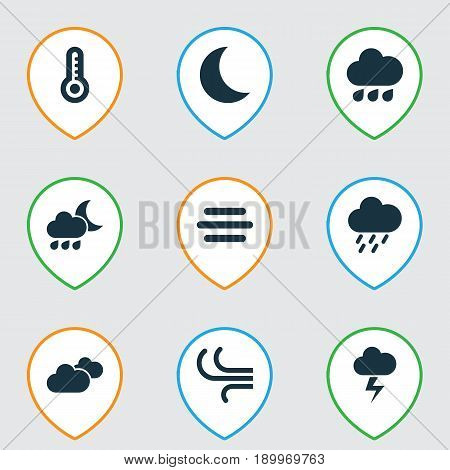 Weather Icons Set. Collection Of Rainy, Moon, Nightly And Other Elements. Also Includes Symbols Such As Rainy, Drop, Shower.