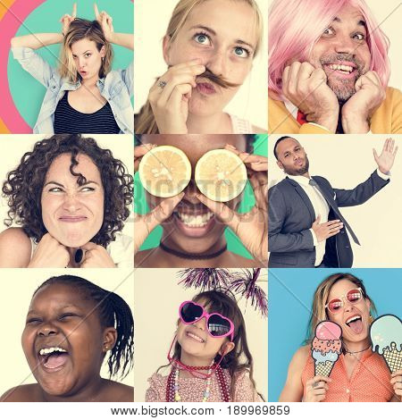 Collection of funny face people collage