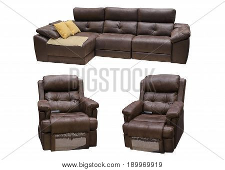 brown leather sofa with chairs isolated on a white background