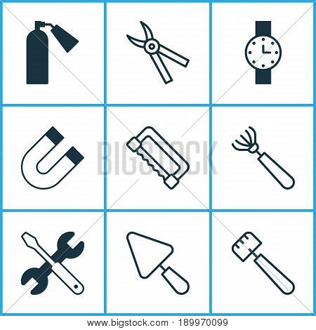 Apparatus Icons Set. Collection Of Firefighter, Harrow, Spatula And Other Elements. Also Includes Symbols Such As Pruning, Clock, Magnet.