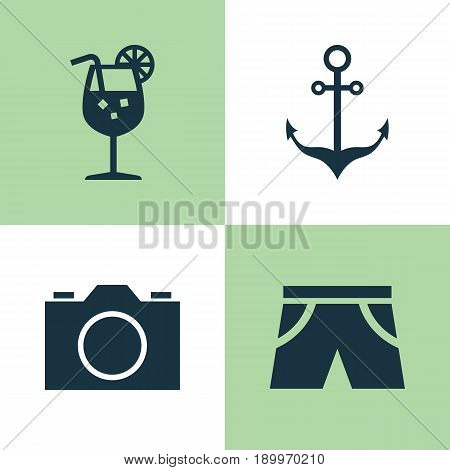 Sun Icons Set. Collection Of Armature, Smelting, Lemonade And Other Elements. Also Includes Symbols Such As Smelting, Shorts, Anchor.