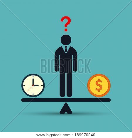 Businessman chooses between time or money time is money concept flat color illustration. Balancing Time and Money. Vector.