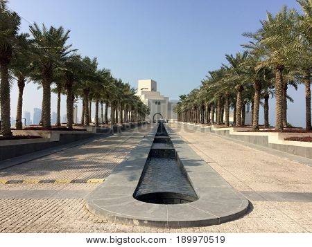 The Museum of Islamic Art, located on one end of the seven kilometers long Corniche in the Qatari capital, Doha.