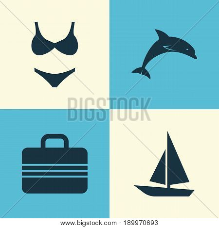 Icons Set. Collection Of Baggage, Bikini, Ship And Other Elements. Also Includes Symbols Such As Fish, Ship, Suitcase.