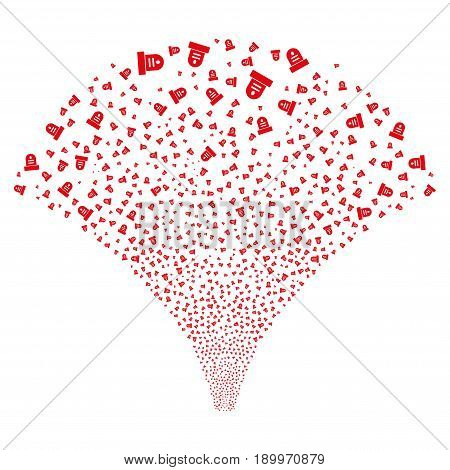 Source of grave symbols. Vector illustration style is flat red iconic symbols on a white background. Object salute made from scattered pictograms.