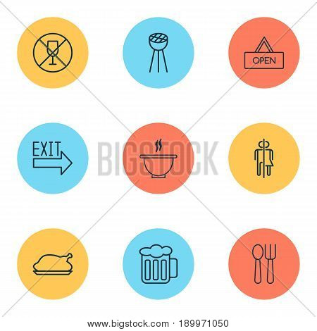 Icons Set. Collection Of Doorway, Cutlery, Board And Other Elements. Also Includes Symbols Such As Soup, Chicken, Bbq.