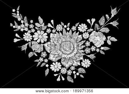 Sunflower field wild floral white embroidery arrangement neckline decoration. Fashion textile floral clothing print.Colourful daisy small blue herb rose vector illustration art