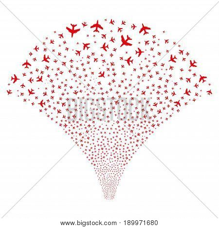 Fountain of jet plane symbols. Vector illustration style is flat red iconic symbols on a white background. Object salute done from scattered symbols.
