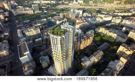Kiev, Ukraine, June 5, 2017. Summer morning in Kiev, roof garden,  aerial view