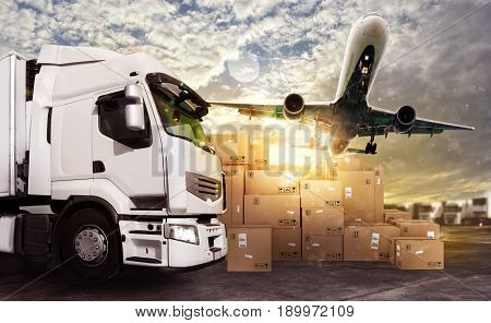Truck and aircraft in a deposit with packages ready to start to deliver