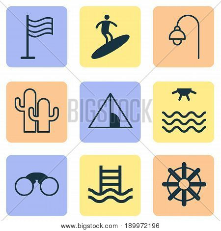 Tourism Icons Set. Collection Of Lamppost, Camping House, Basin Ladder And Other Elements. Also Includes Symbols Such As Field Glasses, Helm, Pair Of Glasses.