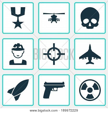 Battle Icons Set. Collection Of Cranium, Order, Target And Other Elements. Also Includes Symbols Such As Missile, Fire, Bomber.