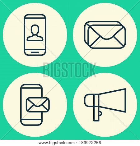 Network Icons Set. Collection Of Bullhorn, Phone Messaging, Mailbox And Other Elements. Also Includes Symbols Such As Mailbox, Messaging, Loudspeaker.