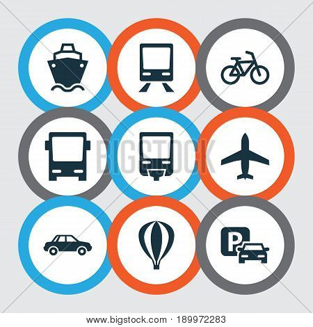 Transportation Icons Set. Collection Of Railroad, Omnibus, Bicycle And Other Elements. Also Includes Symbols Such As Flight, Railway, Bus.