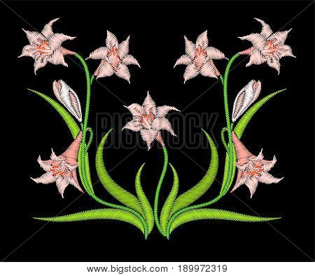 Embroidery lily flower in bloom symmetrical ornament.