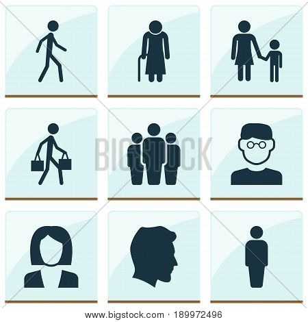 Person Icons Set. Collection Of Old Woman, Male, Group And Other Elements. Also Includes Symbols Such As Courier, Unity, Family.