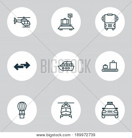 Delivery Icons Set. Collection Of Flight Vehicle, Boat, Baggage Carousel And Other Elements. Also Includes Symbols Such As Aircraft, Arrow, Baggage.