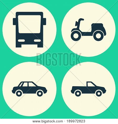 Transportation Icons Set. Collection Of Automobile, Skooter, Omnibus And Other Elements. Also Includes Symbols Such As Automobile, Motorbike, Pickup.