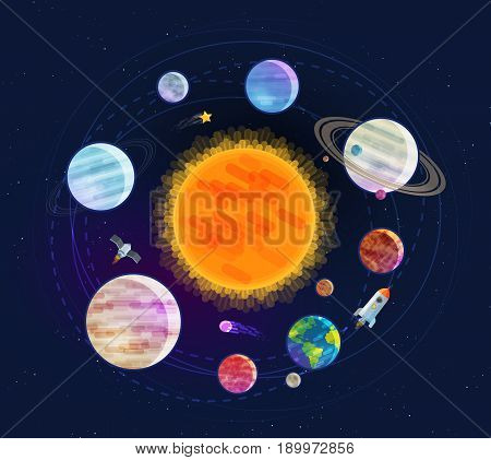 Astronomy, space, astrology concept. Solar system planets stars Vector illustration