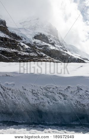 Facing the edge of the ice while standing on the Columbia Icefield in Alberta Canada.