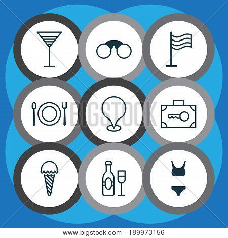Travel Icons Set. Collection Of Frozen Food, Aperitif, Security Baggage And Other Elements. Also Includes Symbols Such As Baggage, Glassware, Clothes.