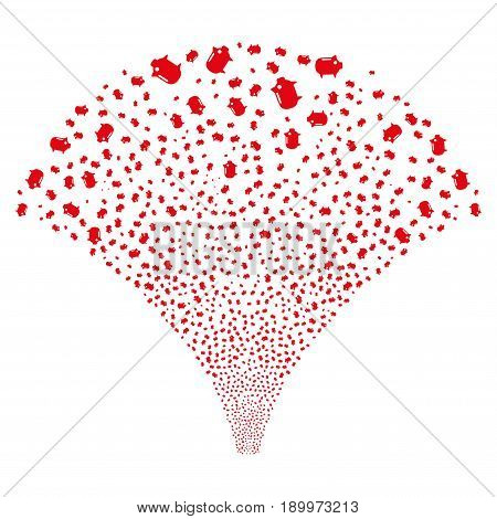Source stream of piggy bank symbols. Vector illustration style is flat red iconic symbols on a white background. Object source constructed from confetti icons.