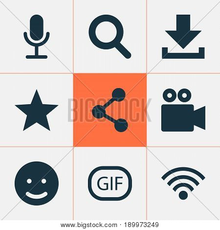 Media Icons Set. Collection Of Gif Sticker, Magnifier, Publish And Other Elements. Also Includes Symbols Such As Share, Sticker, Arrow.